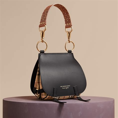 Tas Burberry 3 In 1 the bridle bag in leather haymarket check and alligator in black burberry united states