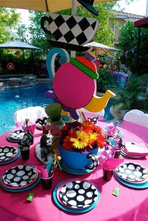 mad hatter themed decorations in mad hatter tea birthday ideas