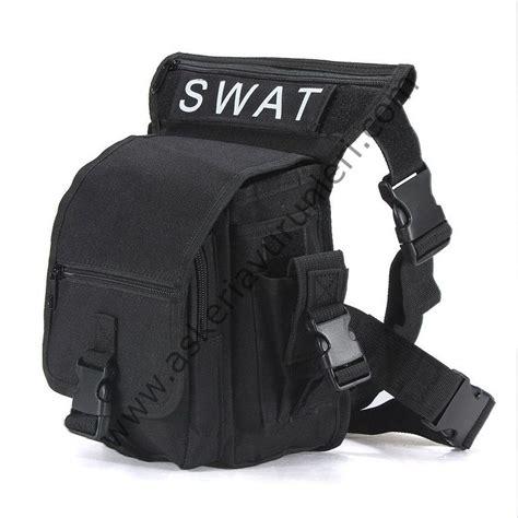 Tas Swat swat purpose shoulder bag leg bag black bel ve baca茵a