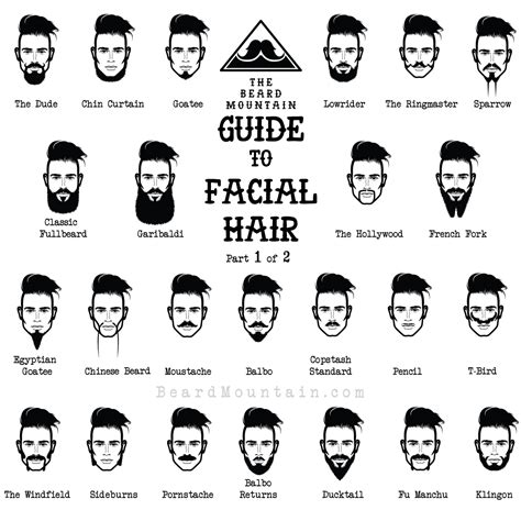 facial hair styles and their names the beard mountain guide to facial hair awesomeness