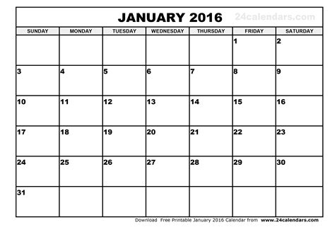 printable january schedule january 2016 calendar printable