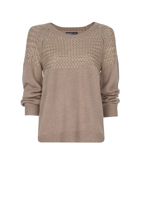 brown cable knit sweater mango cable knit metalized sweater in brown multi