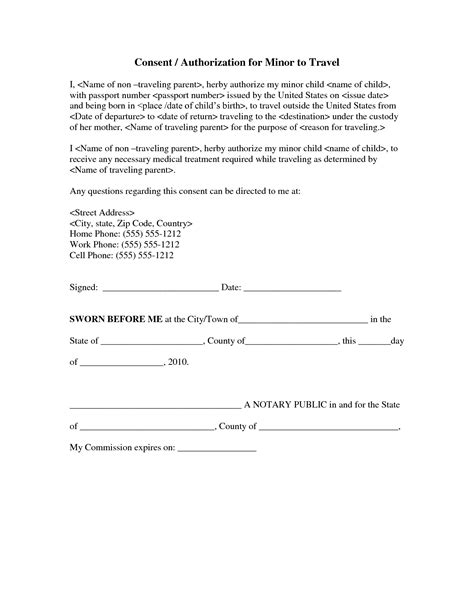 sle authorization letter for minor to travel without parents authorization letter for a minor to travel sle 28 images