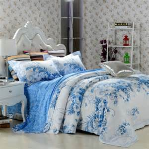 Blue And White Bed Set Sky Blue And White Vintage Floral Jacquard 100 Cotton Size Bedding Sets Jpg