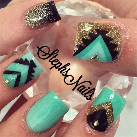 aztec pattern nail art pin by michelle comeau on gel nails pinterest
