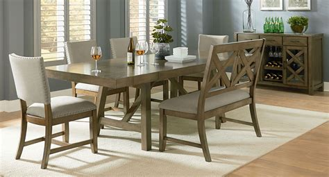 Grey Dining Room Set Canada Omaha Dining Room Set W Bench And Upholstered Chairs