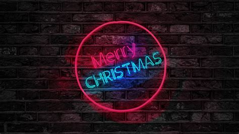 merry christmas neon sign   wallpapers hd wallpapers