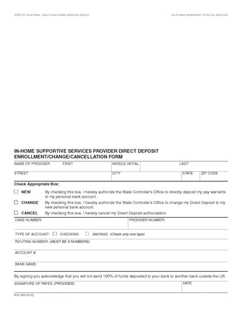 bank authorization letter for direct deposit free in home supportive services ihss direct deposit