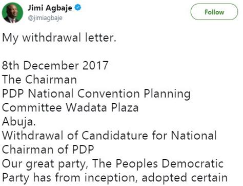 Withdrawal Letter From Election Breaking Jimi Agbaje Withdraws From Pdp Chairmanship