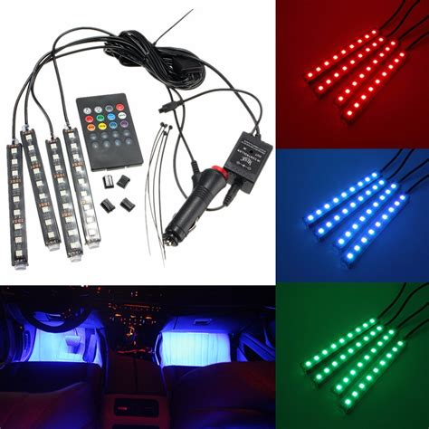 Color Interior Lights For Cars by 4 In 1 9 Led Multi Color Car Auto Neon Light Atmosphere