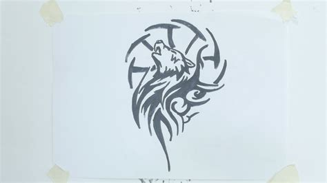 how to draw a wolf tattoo wolf tattoo step by step how to draw wolf head tribal tattoo 4 youtube