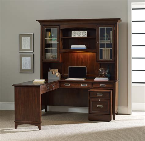 Office Desk With Hutch Storage by Furniture Corner Brown Wooden Office Desks With Hutch