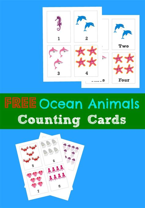ocean animals matching cards 171 preschool and homeschool free printable flashcards counting 1 10 ocean animals