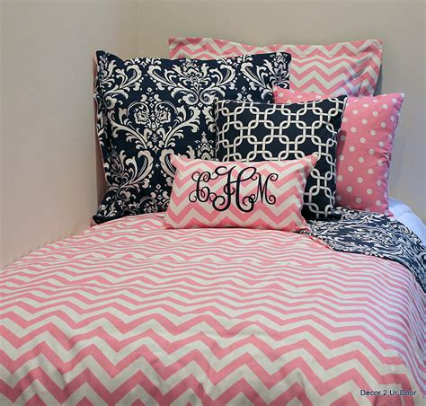 girls chevron bedding pink white chevron designer teen girl from decor 2 ur
