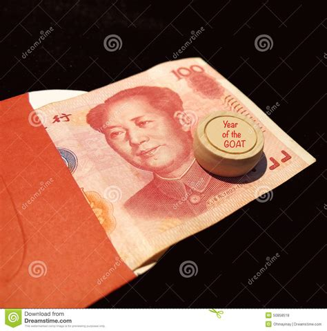 new year pocket meaning renminbi pocket for year of the goat stock photo