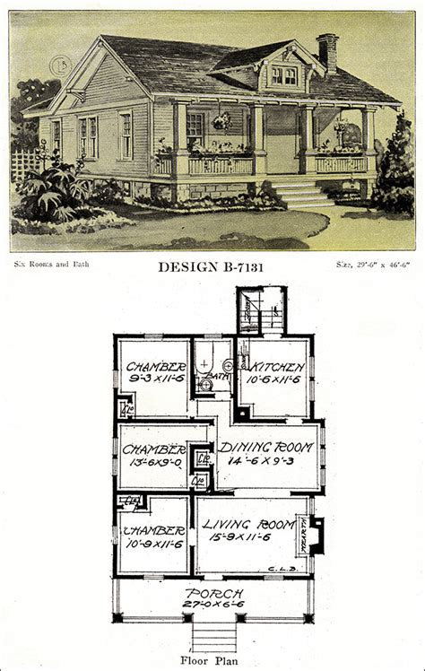 chicago bungalow house plans 1918 bungalow with a full width porch and gable dormer