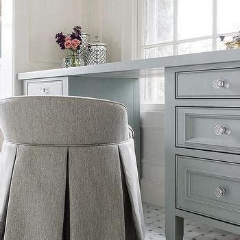 gray bathroom vanity stool bay window with white trellis makeup vanity transitional