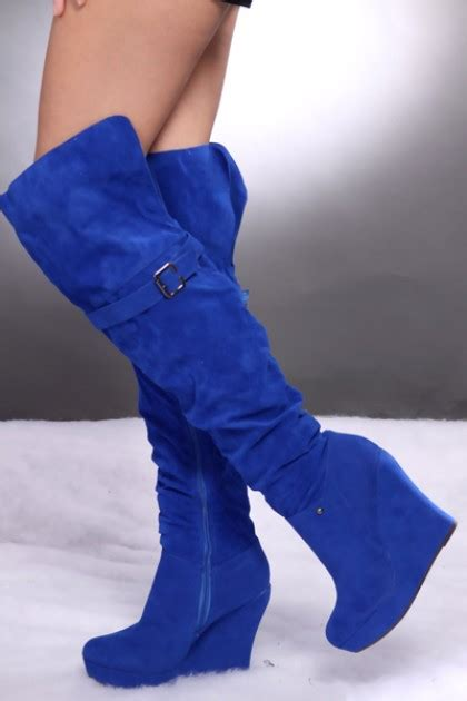 royal blue faux suede slouchy the knee wedge boots