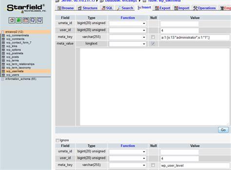 wordpress how to create new admin user via database