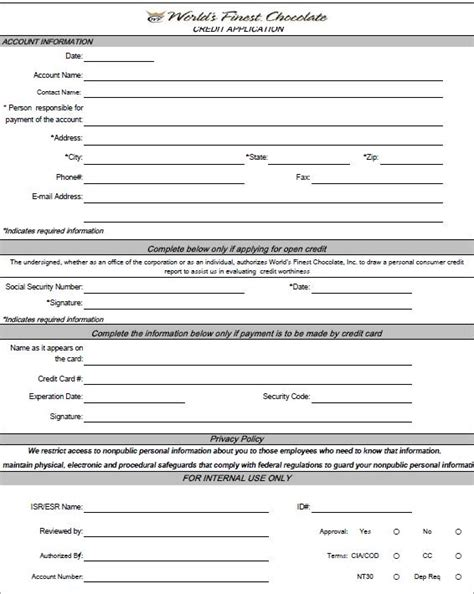 Free Credit Agreement Forms Free Printable Credit Application Form Form Generic