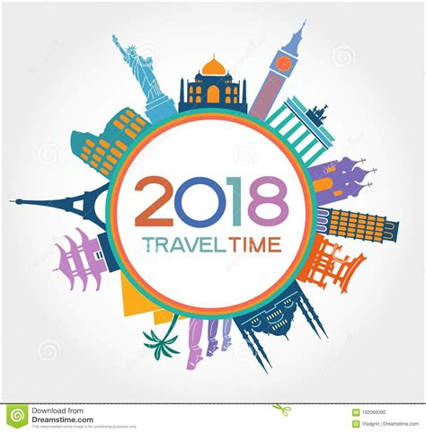 new year 2018 travel travel and happy new year 2018 design background with