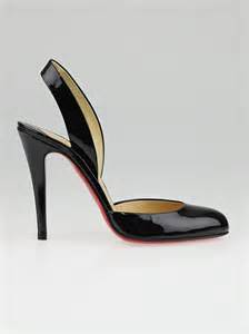 Christian Louboutin Patent Slingback Wedges by Christian Louboutin Black Patent Leather Picador 100