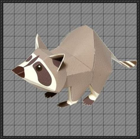 Origami Raccoon - animal paper model raccoon free paper
