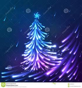 vector shining lights blue neon christmas tree stock photo