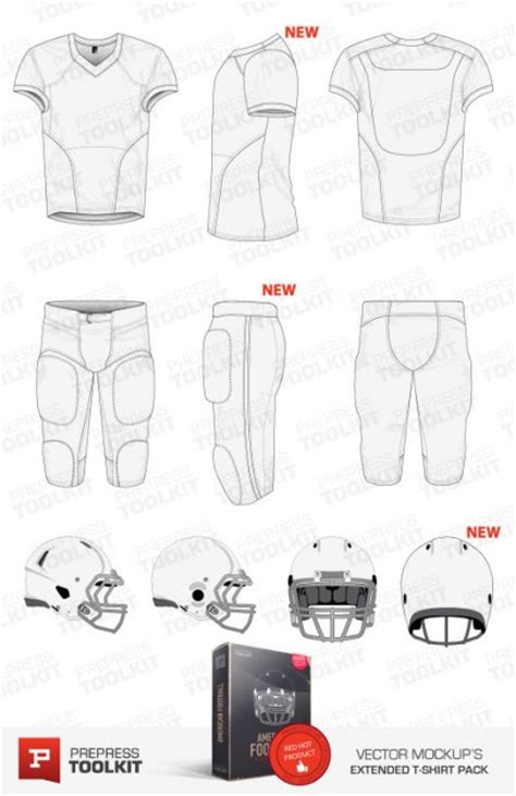 American Football Uniform Vector Mockup Template Pack Football Jersey Template