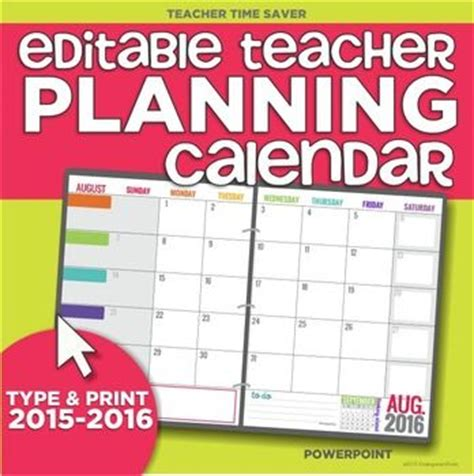 teacher monthly planning calendar template 17 month 2015 2016 editable planning calendar template