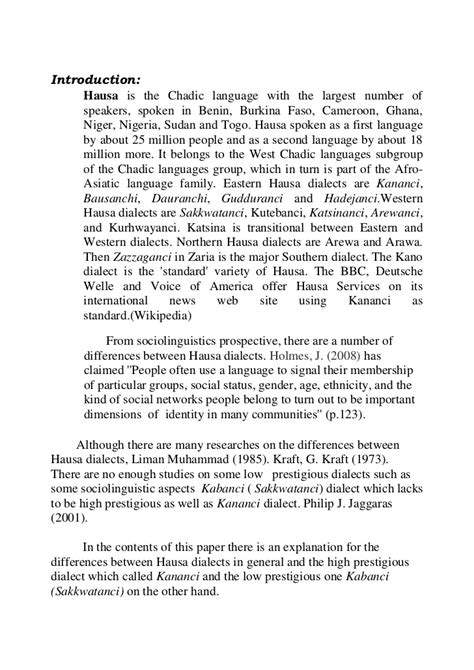 thesis paper  hausa dialects  asosal