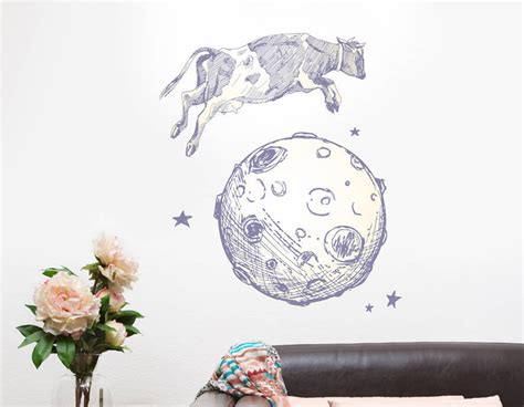 cow wall stickers cow jumps the moon wall sticker contemporary wall