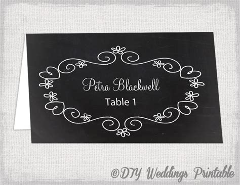 chalkboard card templates wedding place card template chalkboard place cards