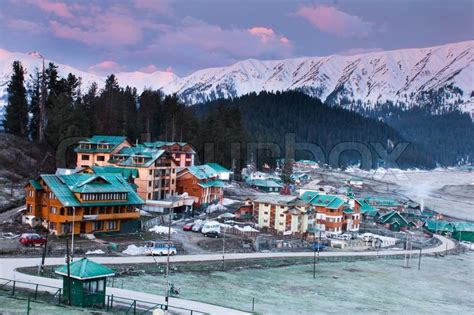 House Building Plans by Gulmarg Ski Resorts Srinagar Kashmir India Stock Photo