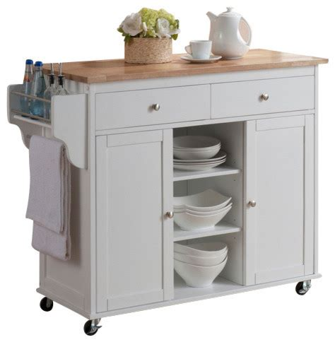White Kitchen Island Cart by Baxton Studio Meryland White Modern Kitchen Island Cart