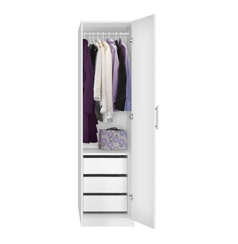 Narrow Wardrobe Closet alta narrow wardrobe closet right door 3 interior drawers contempo space