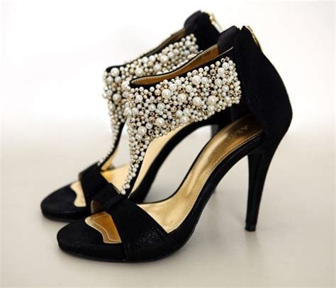high heel pearl open back zipper sandals black wedding shoes vintage flowerweddingshoes