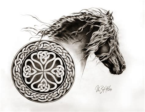 celtic friesian drawing by art imago