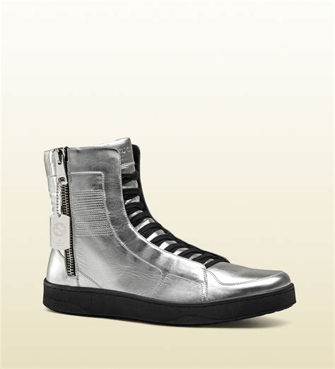 silver high top sneakers gucci exclusive metallic silver high top sneaker in