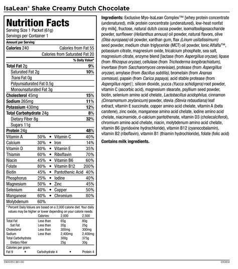 nutrition facts isagenix isalean protein shakes nutrition facts