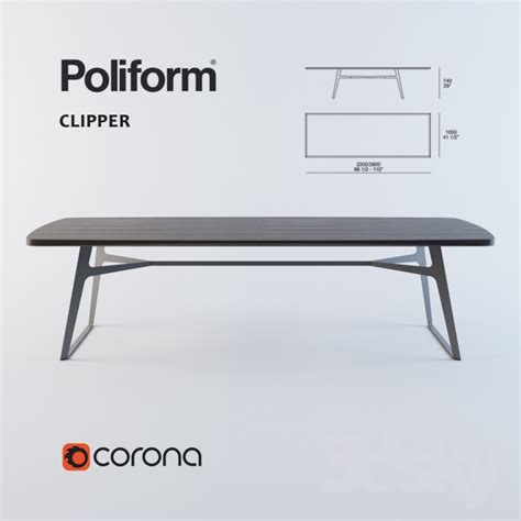 poliform dining table 3d models table dining table poliform clipper