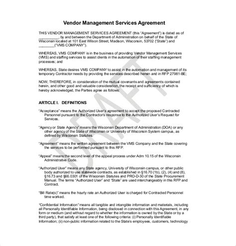 Agreement Letter For Vendor 17 vendor agreement templates free sle exle