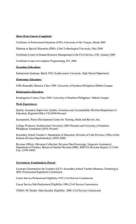 Resume Sle With Civil Service Eligibility Curriculum Vitae Of Dr Kenneth Sala Biasong