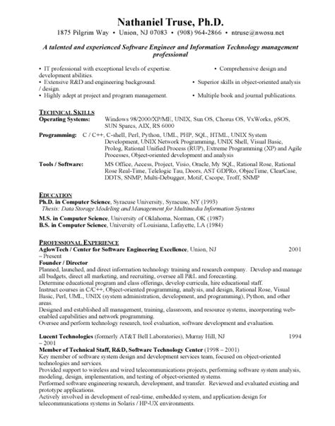 exle software engineer resume sle resume format for experienced software engineer 28