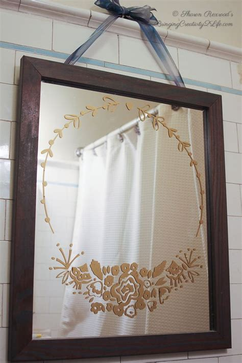 mirror stickers bathroom rose bouquet frame vinyl wall decal floral flowers