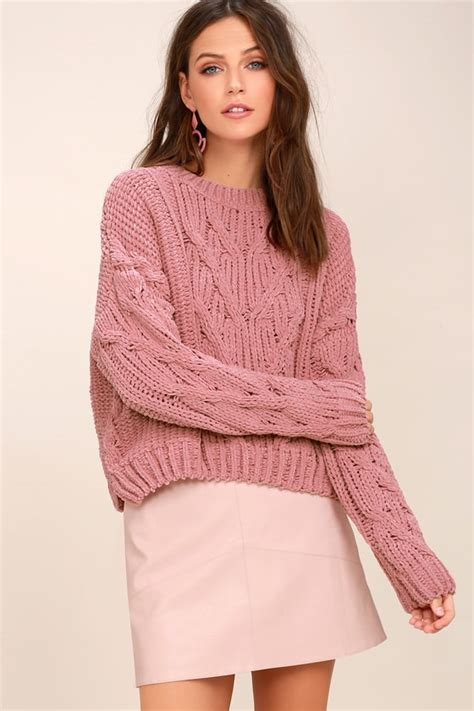 pink knit sweater j o a pink cable knit sweater cable knit chenille sweater