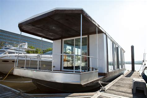 prefabricated floating house can be shipped worldwide prefab houseboat metroship riggins design