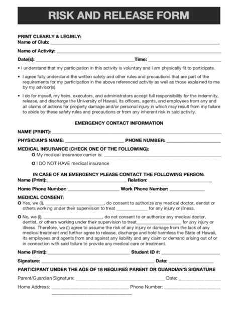 Fillable Risk And Release Form Printable Pdf Download Risk Waiver Form Template