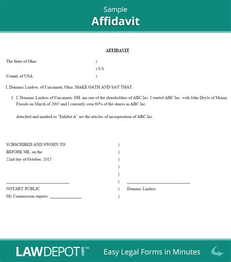template for an affidavit affidavit form free general affidavit template us
