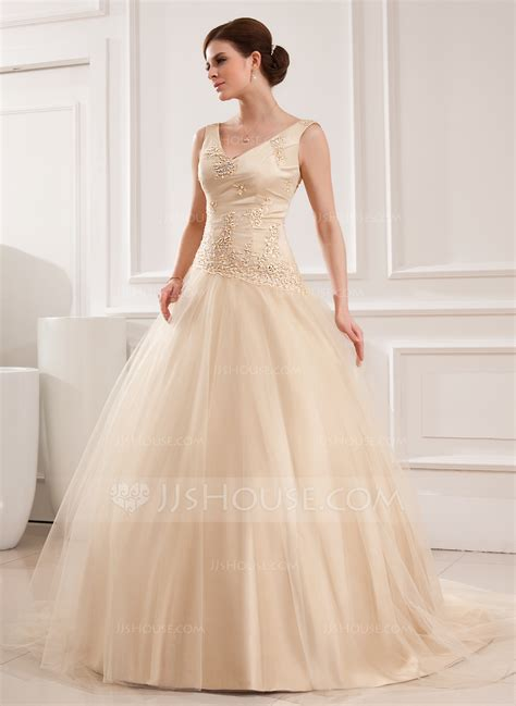 Chapel Wedding Dress by Gown V Neck Chapel Tulle Wedding Dress With